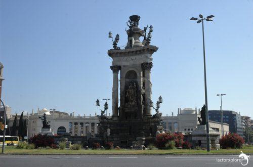 plaza españa, 01 con fira montjuic detras