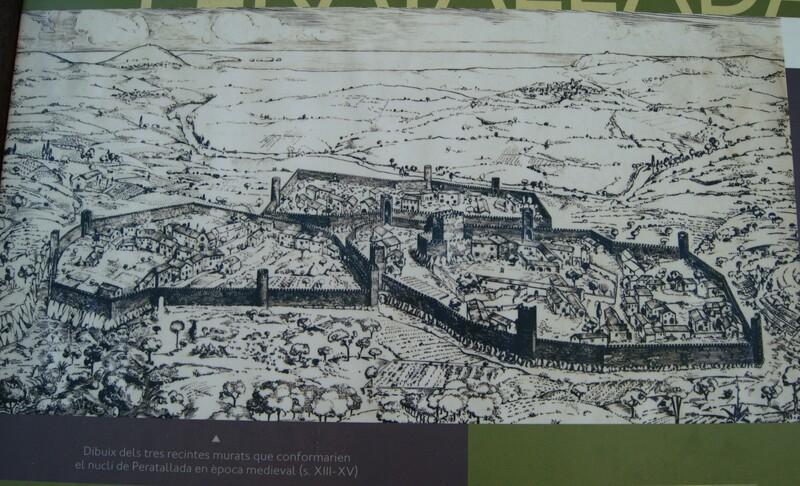 Peratallada, ilustración en paneles colocados en el pueblo